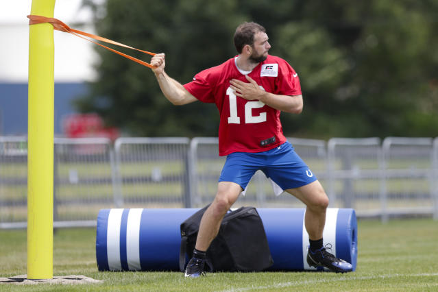 FILE - In this July 26, 2019, file photo, Indianapolis Colts quarterback Andrew Luck warms up during practice at the NFL team's football training camp in Westfield, Ind. If Luck keeps progressing, then the questions will turn into how soon can he play? We wont as an organization, put any player out there that cant perform at a high level, general manager Chris Ballard said. Im not going to put players at risk. So if we feel comfortable, Frank and I and our staff feel comfortable that he can play, then hell play. (AP Photo/Michael Conroy, File)
