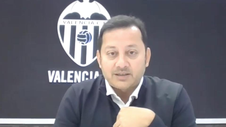 Valencia president Anil Murthy during his virtual conference with global journalists. (PHOTO: Screenshot)