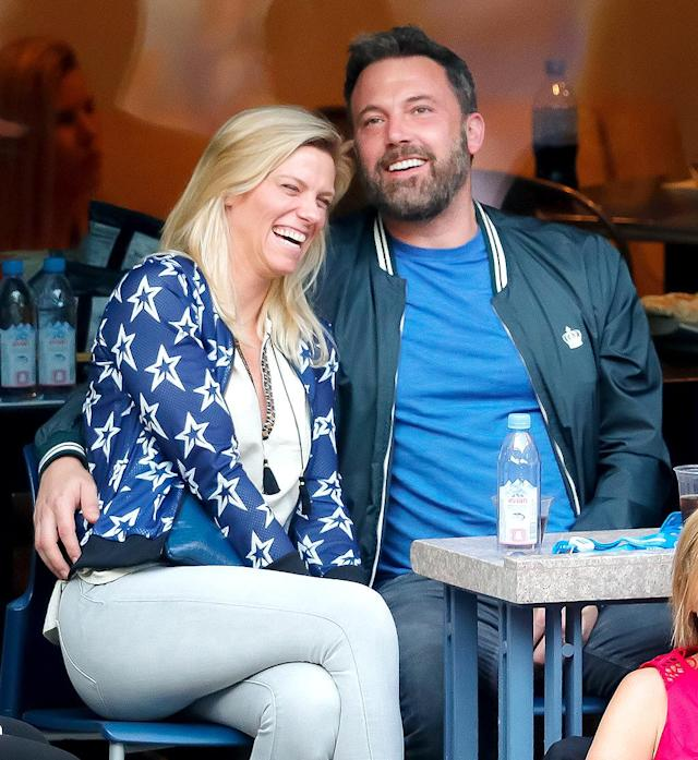 """<p>Affleck was all loved up with his girlfriend <a href=""""https://www.yahoo.com/celebrity/ben-affleck-lindsay-shookus-enjoy-140222301.html"""" data-ylk=""""slk:at the U.S. Open"""" class=""""link rapid-noclick-resp"""">at the U.S. Open</a> — and elsewhere — just two months after going public with her. Any ideas for a couple nickname for them? Bensay doesn't quite roll off the tongue… (Photo: Jackson Lee/WireImage) </p>"""