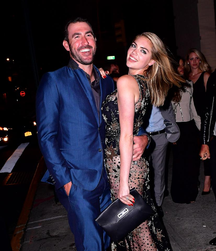 <p>Justin Verlander and Kate Upton celebrate her birthday at The Blond at 11 Howard Hotel on June 8, 2016 in New York City. (Photo by James Devaney/WireImage) </p>