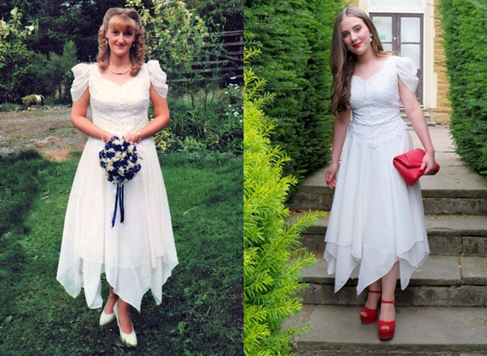 Grace Jeyes borrowed her mother's 20-year-old dress for prom [Photo: Caters]