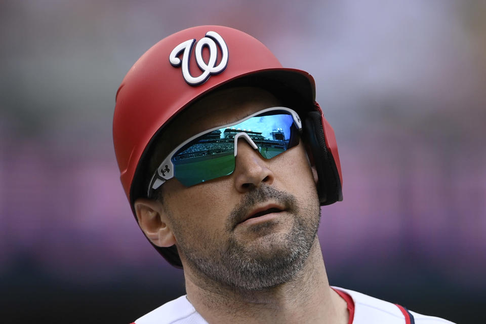 Washington Nationals' Ryan Zimmerman looks on after he lined out during the fifth inning of a baseball game against the San Francisco Giants, Sunday, June 13, 2021, in Washington. (AP Photo/Nick Wass)
