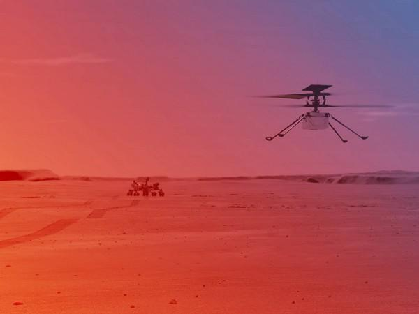 An illustration of NASA's Ingenuity Helicopter flying on Mars. (Credits: NASA)