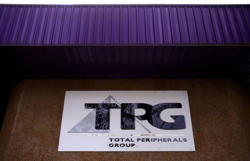 FILE PHOTO: The logo of Australia's TPG Telecom Ltd can be seen outside their head office in Sydney, Australia