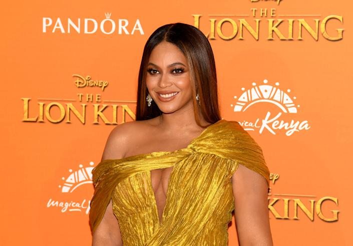 """Beyonce Knowles-Carter attends the European Premiere of Disney's """"The Lion King"""" at Odeon Luxe Leicester Square on July 14, 2019 in London, England. (Photo by Gareth Cattermole/Getty Images for Disney)"""
