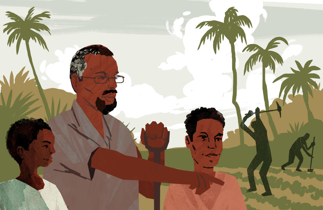 Abdi and another al-Shabab survivor with Hussein, an educator who runs a school for orphans and shelters young defectors from the terrorist group. (Illustration by Noah MacMillan for Yahoo News)