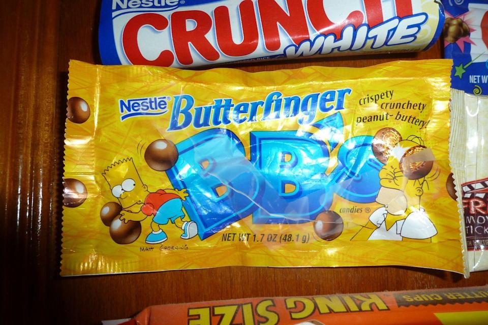 <p>We love the classic Butterfinger candy bar, but when we saw the fun-to-eat, bite-size version complete with a Simpson's ad campaign, we basically lost it. Unfortunately they were discontinued in 2006, then brought back as Butterfinger Mini Bites in 2009...quit playing with our hearts, Nestlé!</p>