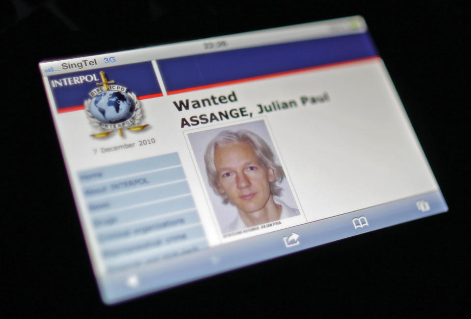Wanted poster for Julian Assange on Interpol website. Source: Reuters
