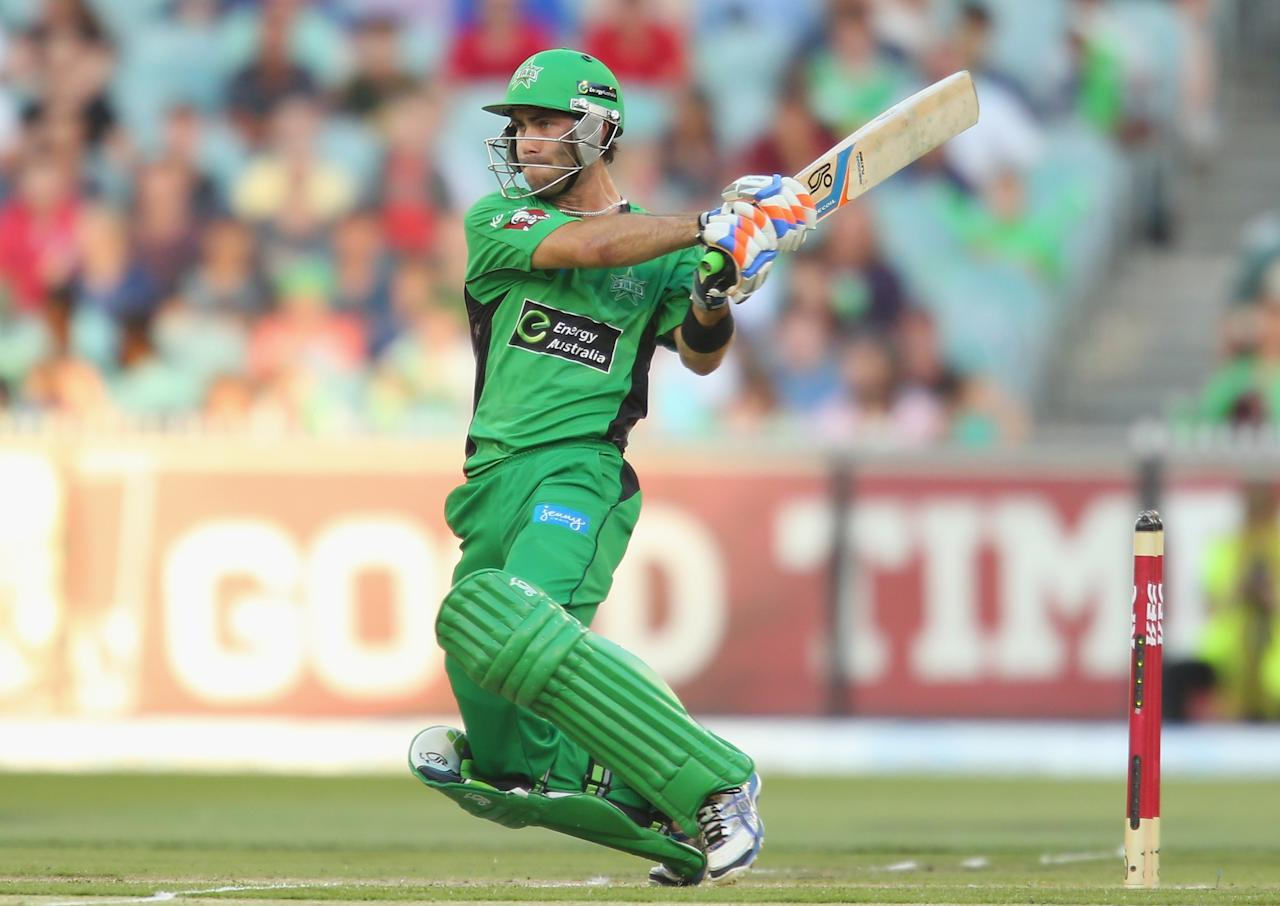 MELBOURNE, AUSTRALIA - DECEMBER 21:  Glenn Maxwell of the Stars bats during the Big Bash League match between the Melbourne Stars and the Sydney Sixers at Melbourne Cricket Ground on December 21, 2012 in Melbourne, Australia.  (Photo by Scott Barbour/Getty Images)