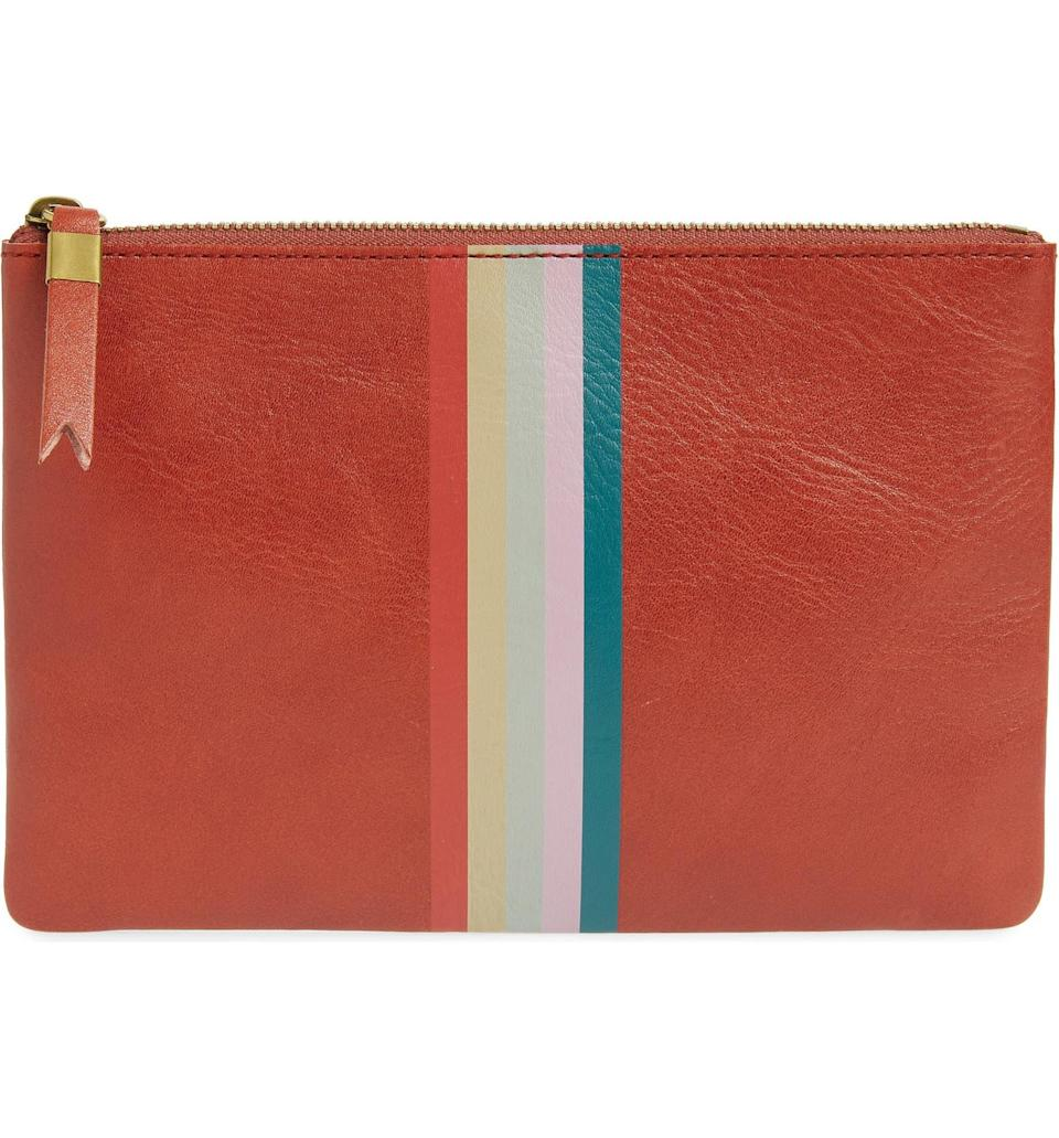 """<h2>Madewell The Leather Pouch Clutch 35% Off </h2><br>""""This painted pouch is giving me major Clare V. vibes at a much more agreeable price point and it's a YES for me. I've never been someone to carry around a 'real' wallet, so durable-yet-chic pouches have long been my go-to for housing credit cards, IDs, loose change, and actual cash (on the rare occasions I have any). Anything leather is a plus because it only gets softer and chicer over time as you break it in."""" <em>– Elizabeth Buxton, Deputy Director</em><br><br><strong><em>Next Best Deal:</em></strong><em> Since the Madewell Leather Pouch Clutch is currently sold out, try this still-in-stock <a href=""""https://www.nordstrom.com/s/madewell-genuine-calf-hair-edition-leather-pouch-clutch/5926331"""" rel=""""nofollow noopener"""" target=""""_blank"""" data-ylk=""""slk:Madewell Genuine Calf Hair Edition Leather Pouch Clutch"""" class=""""link rapid-noclick-resp"""">Madewell Genuine Calf Hair Edition Leather Pouch Clutch</a> instead!</em><br><br><em>Shop <strong><a href=""""https://www.nordstrom.com/brands/madewell--11669"""" rel=""""nofollow noopener"""" target=""""_blank"""" data-ylk=""""slk:Madewell"""" class=""""link rapid-noclick-resp"""">Madewell</a></strong></em><br><br><strong>Madewell</strong> The Leather Pouch Clutch, $, available at <a href=""""https://go.skimresources.com/?id=30283X879131&url=https%3A%2F%2Fwww.nordstrom.com%2Fs%2Fmadewell-the-leather-pouch-clutch%2F4634065"""" rel=""""nofollow noopener"""" target=""""_blank"""" data-ylk=""""slk:Nordstrom"""" class=""""link rapid-noclick-resp"""">Nordstrom</a>"""