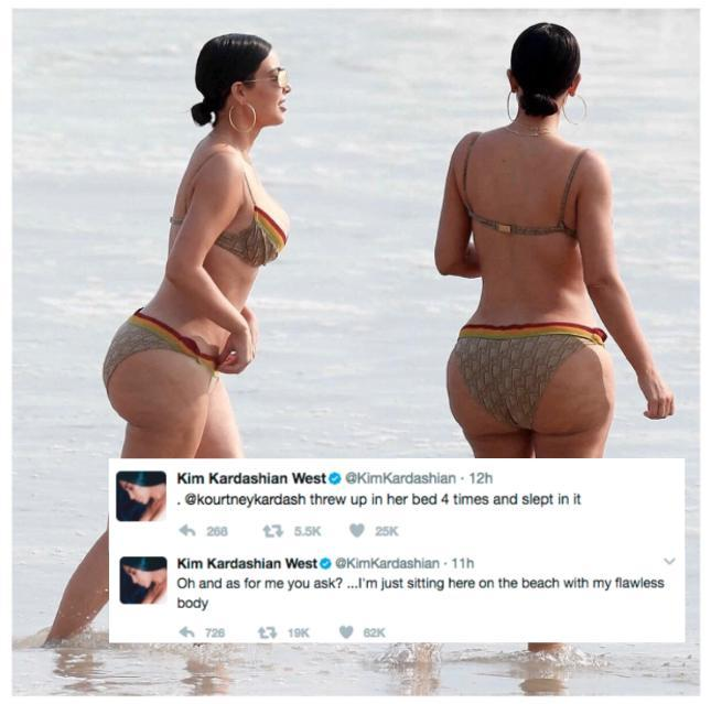 <p>Fans and foes of the Kardashian clan are reveling in untouched bikini-clad pics of Kim and Kourtney after candid photographs of the two were splashed onto the web during their Mexican getaway. <i>(Photo: Twitter) </i></p>