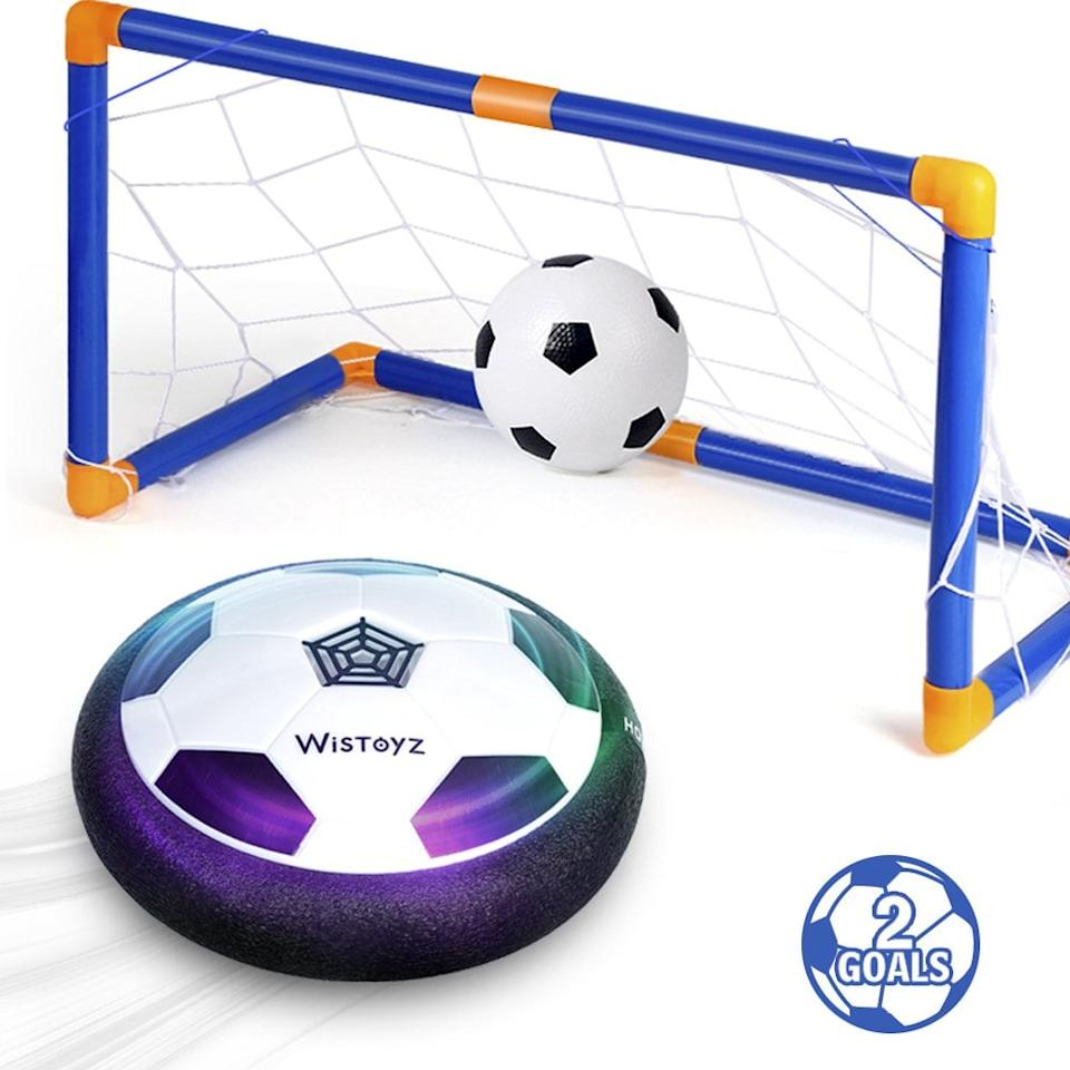 """<p>Take the great game of soccer inside with this <a href=""""https://www.popsugar.com/buy/Hovering-Soccer-Ball-Indoor-Game-460797?p_name=Hovering%20Soccer%20Ball%20Indoor%20Game&retailer=amazon.com&pid=460797&price=20&evar1=moms%3Aus&evar9=46285065&evar98=https%3A%2F%2Fwww.popsugar.com%2Fphoto-gallery%2F46285065%2Fimage%2F46285569%2FHovering-Soccer-Ball-Indoor-Game&list1=shopping%2Ctoys&prop13=api&pdata=1"""" rel=""""nofollow"""" data-shoppable-link=""""1"""" target=""""_blank"""" class=""""ga-track"""" data-ga-category=""""Related"""" data-ga-label=""""https://www.amazon.com/Soccer-Excellent-Killer-Inflatable-Included/dp/B07CK4V7BV/ref=sr_1_67?crid=1C2QY7MHQ3HF7&amp;keywords=gifts+for+5+year+olds&amp;qid=1560889143&amp;s=gateway&amp;sprefix=gifts+for+5%2Caps%2C127&amp;sr=8-67"""" data-ga-action=""""In-Line Links"""">Hovering Soccer Ball Indoor Game</a> ($20). It has multicolored LED lights and two goals that are easy to set up.</p>"""