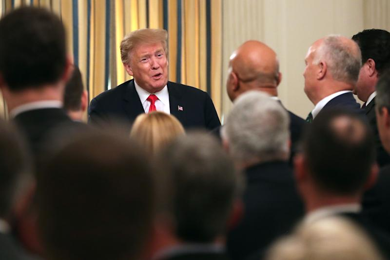President Donald Trump addresses a meeting of the National Association of Attorneys General in the State Dining Room at the White House on March 4, 2019.