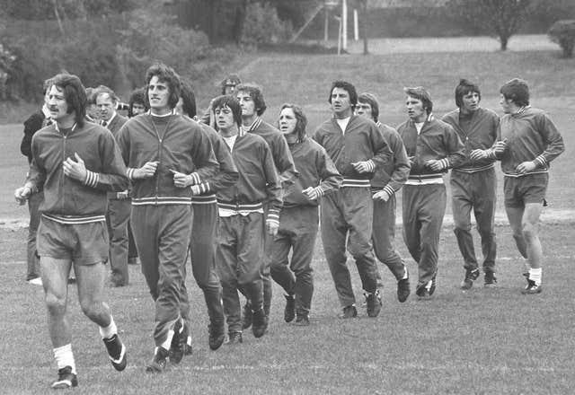 Frank Worthington (far left) trains with the England squad