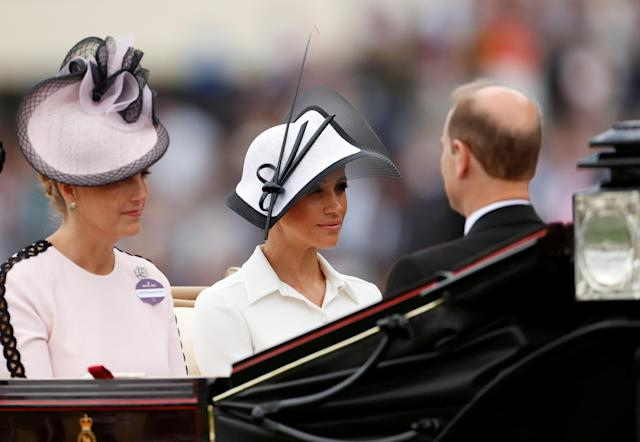 Horse Racing - Royal Ascot - Ascot Racecourse, Ascot, Britain - June 19, 2018 Meghan, the Duchess of Sussex and Sophie, Countess of Wessex arrive at Ascot racecourse REUTERS/Andrew Boyers