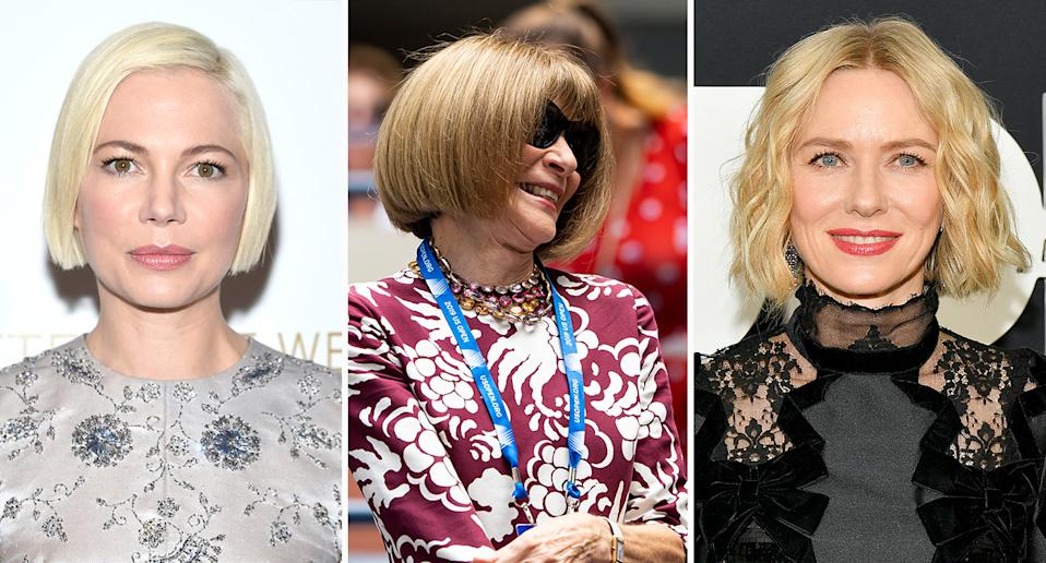 Michelle Williams, Anna Wintour and Naomi Watts are among the famous women who boast bobs [Photos: Getty]