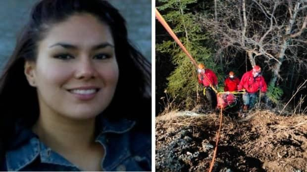 Patricia Paul, left, was rescued by volunteer search teams after a 100-metre fall in Whiteswan Lake Provincial Park in southern British Columbia.  (Submitted by Patricia Paul/GoFundMe, Columbia Valley Search and Rescue/Facebook - image credit)