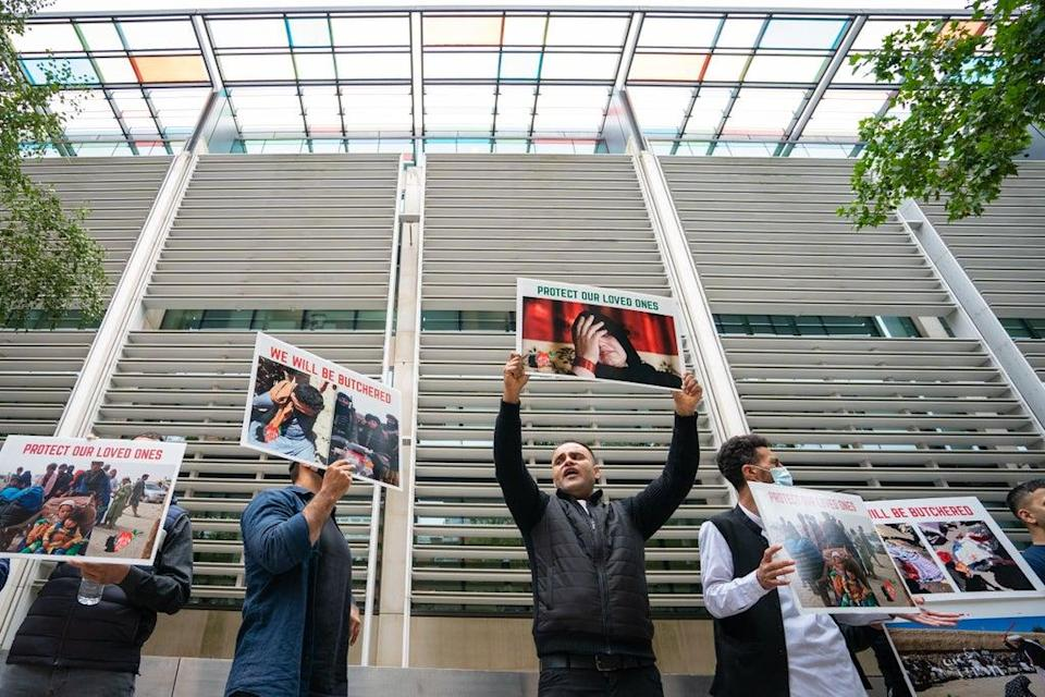 Former Afghan interpreters protest in front of the Home Office in Westminster (PA Wire)