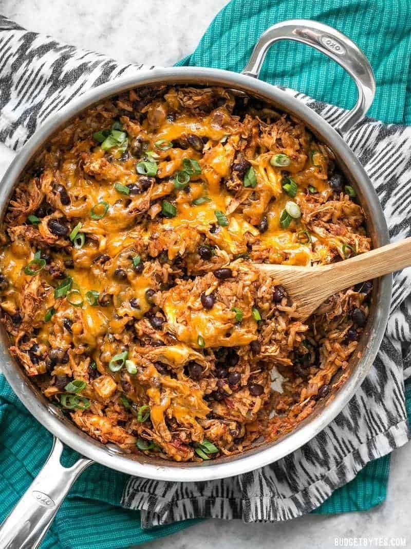 """<p>As long as you use precooked chicken, this dish can be made in less than 30 minutes.</p><p><strong>Get the recipe at <a href=""""https://www.budgetbytes.com/southwest-chicken-skillet/"""" rel=""""nofollow noopener"""" target=""""_blank"""" data-ylk=""""slk:Budget Bytes"""" class=""""link rapid-noclick-resp"""">Budget Bytes</a>.</strong> </p>"""