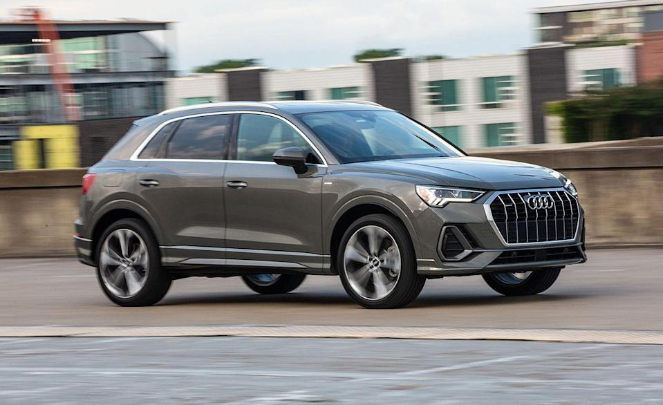 """<p>The same company that makes a <a href=""""https://www.caranddriver.com/audi/rs6-avant"""" rel=""""nofollow noopener"""" target=""""_blank"""" data-ylk=""""slk:591-hp wagon"""" class=""""link rapid-noclick-resp"""">591-hp wagon</a> that gets to 60 mph in just 3.1 seconds and a 5469-pound <a href=""""https://www.caranddriver.com/features/g19876364/quickest-suvs-tested-ever/"""" rel=""""nofollow noopener"""" target=""""_blank"""" data-ylk=""""slk:SUV that can do it in 3.6"""" class=""""link rapid-noclick-resp"""">SUV that can do it in 3.6</a> also brings you the <a href=""""https://www.caranddriver.com/audi/q3"""" rel=""""nofollow noopener"""" target=""""_blank"""" data-ylk=""""slk:Q3"""" class=""""link rapid-noclick-resp"""">Q3</a>. Even if it's not the fastest horse in Audi's stable, the Q3 drives well and has plenty of tech. Every Q3 comes with all-wheel drive and an eight-speed transmission behind either a 184- or 228-hp turbocharged inline-four. An optional 12.3-inch digital gauge cluster puts your navigational needs behind the steering wheel, and there's also an available 10.1-inch infotainment screen if you'd rather share the map instead. A panoramic sunroof, heated leather seats, and 19-inch wheels are all standard equipment. </p><ul><li>Base price: $37,095</li><li>EPA Fuel Economy combined/city/highway: 25/22/30 mpg</li><li>Rear cargo space: 23 cubic feet</li></ul><p><a class=""""link rapid-noclick-resp"""" href=""""https://www.caranddriver.com/audi/q3/specs"""" rel=""""nofollow noopener"""" target=""""_blank"""" data-ylk=""""slk:MORE Q3 SPECS"""">MORE Q3 SPECS</a></p>"""