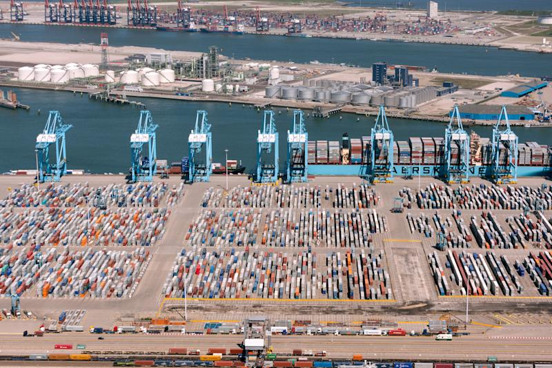 Rotterdam, The Netherlands - May 25, 2012:Aerial view of the APM container terminal in rotterdam, Netherlands on the Maasvlakte. With Europahaven, Yangtzehaven and the euromax terminal in the background. (Photo: Opla via Getty Images)