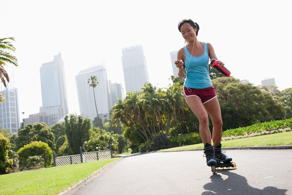 """<p>The '90s are in, and what better to pay homage to the iconic decade than <a href=""""https://www.popsugar.com/fitness/best-roller-skates-for-women-47462490"""" class=""""link rapid-noclick-resp"""" rel=""""nofollow noopener"""" target=""""_blank"""" data-ylk=""""slk:rollerblading or roller skating"""">rollerblading or roller skating</a>? Channel your inner child, lace up your skates, and glide around your neighborhood to work muscles you haven't felt in years.</p>"""
