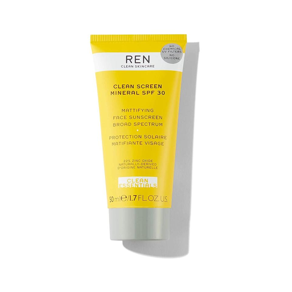 Ren's Clean Screen Mineral SPF 30 Mattifying Face Sunscreen may not contain chemical filters, but it sure does contain more than its fair share of natural ingredients that take it from simply protective to powerfully beneficial. Natural extracts like yellow passionfruit seed add additional antioxidant defense, while botanical oils ensure skin stays moisturized and rice starch absorbs excess oil to keep skin shine-free.