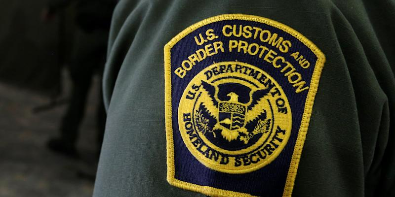 US Border Patrol agents are seen during a tour of US Customs and Border Protection (CBP) temporary holding facilities in El Paso.JPG