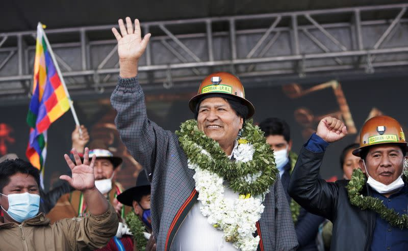 Former Bolivian President Evo Morales meets people from Bolivian social movements in La Paz