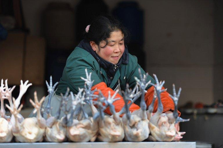 A market holder sells chickens in Hefei, central China, on January 11, 2013
