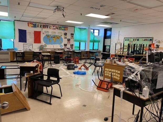 The Cape Breton-Victoria Centre for Education says a student prank went too far, leaving a big mess for staff. Students disagree, saying they cleaned up.  (Submitted by Evony Robertson - image credit)