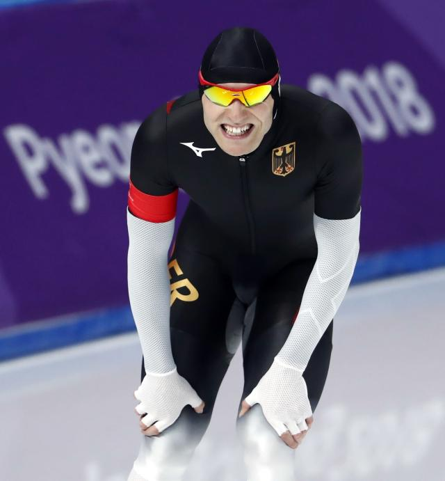 Speed Skating - Pyeongchang 2018 Winter Olympics - Men's 1000m competition finals - Gangneung Oval - Gangneung, South Korea - February 23, 2018 - Nico Ihle of Germany reacts after his race. REUTERS/Damir Sagolj