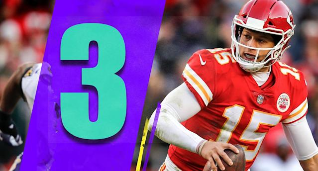<p>What's left to say about Patrick Mahomes anymore? His 48-yard pass to Tyreek Hill on fourth down to keep the Chiefs alive on Sunday was as good as you'll ever see. If he wins MVP, that throw will be one of the main reasons. (Patrick Mahomes) </p>