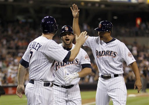San Diego Padres' Chase Headley, left, and Will Venable, right, congratulate Yonder Alonso, center, for hitting a grand slam home run against the Colorado Rockies during the first inning of their baseball game in San Diego, Calif., Friday, Sept. 14, 2012. (AP Photo/Alex Gallardo)