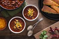 """<p>A hot pot of<a href=""""https://www.thedailymeal.com/cook/15-absolute-best-chili-recipes-national-chili-month-0?referrer=yahoo&category=beauty_food&include_utm=1&utm_medium=referral&utm_source=yahoo&utm_campaign=feed"""" rel=""""nofollow noopener"""" target=""""_blank"""" data-ylk=""""slk:chili"""" class=""""link rapid-noclick-resp""""> chili</a> is an easy-to-make game-day <a href=""""https://www.thedailymeal.com/cook/35-genius-recipes-school-nights-gallery?referrer=yahoo&category=beauty_food&include_utm=1&utm_medium=referral&utm_source=yahoo&utm_campaign=feed"""" rel=""""nofollow noopener"""" target=""""_blank"""" data-ylk=""""slk:dinner that your kids won't fuss about"""" class=""""link rapid-noclick-resp"""">dinner that your kids won't fuss about</a>. Slow cooking is the best way to let all of the spices and seasonings settle in the chili. Once it's ready, enjoy it <a href=""""https://www.thedailymeal.com/best-recipes/copycat-cincinnati-chili?referrer=yahoo&category=beauty_food&include_utm=1&utm_medium=referral&utm_source=yahoo&utm_campaign=feed"""" rel=""""nofollow noopener"""" target=""""_blank"""" data-ylk=""""slk:Cincinnati style"""" class=""""link rapid-noclick-resp"""">Cincinnati style </a>over spaghetti with lots of cheese and onions or serve on top of a <a href=""""https://www.thedailymeal.com/recipes/coney-chili-hot-dogs-recipe?referrer=yahoo&category=beauty_food&include_utm=1&utm_medium=referral&utm_source=yahoo&utm_campaign=feed"""" rel=""""nofollow noopener"""" target=""""_blank"""" data-ylk=""""slk:hot dog"""" class=""""link rapid-noclick-resp"""">hot dog</a>.</p> <p><a href=""""https://www.thedailymeal.com/recipes/slow-cooker-chili-2-recipe?referrer=yahoo&category=beauty_food&include_utm=1&utm_medium=referral&utm_source=yahoo&utm_campaign=feed"""" rel=""""nofollow noopener"""" target=""""_blank"""" data-ylk=""""slk:For the Slow Cooker Chili recipe, click here."""" class=""""link rapid-noclick-resp"""">For the Slow Cooker Chili recipe, click here.</a></p>"""