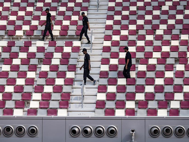 Air-conditioning vents blow out cold air into a stadium in Doha for the World Athletics Championships last month: Getty
