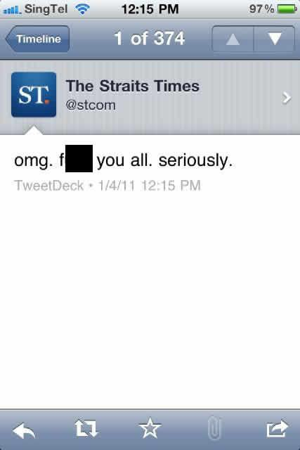 The Straits Time's makes a boo-boo on Twitter. (Screen cap by Samantha Chui)