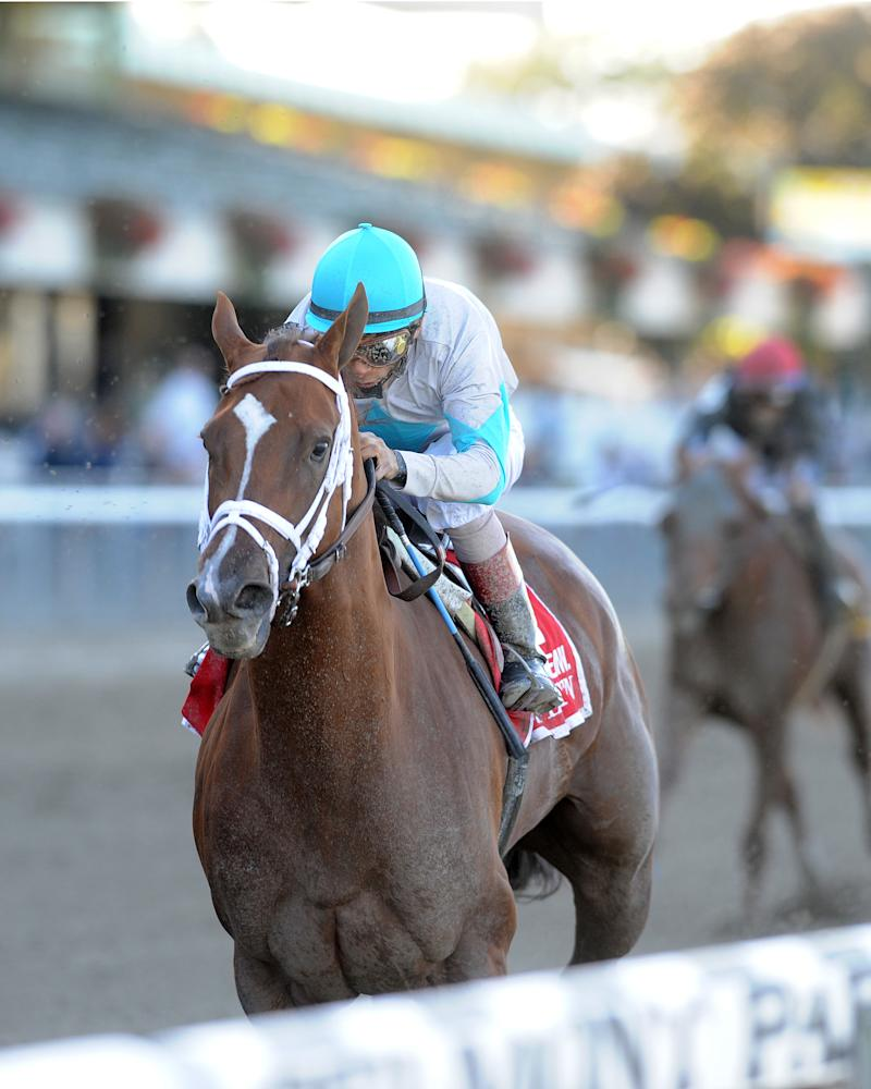 In a photo provided by the New York Racing Association, Life At Ten and John Velazquez win the Beldame horse race Saturday, Oct. 2, 2010, at Belmont Park in New York. (AP Photo/New York Racing Association)