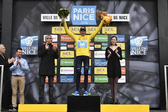 Spain's Marc Soler celebrates winning Paris-Nice (AFP Photo/JEFF PACHOUD)