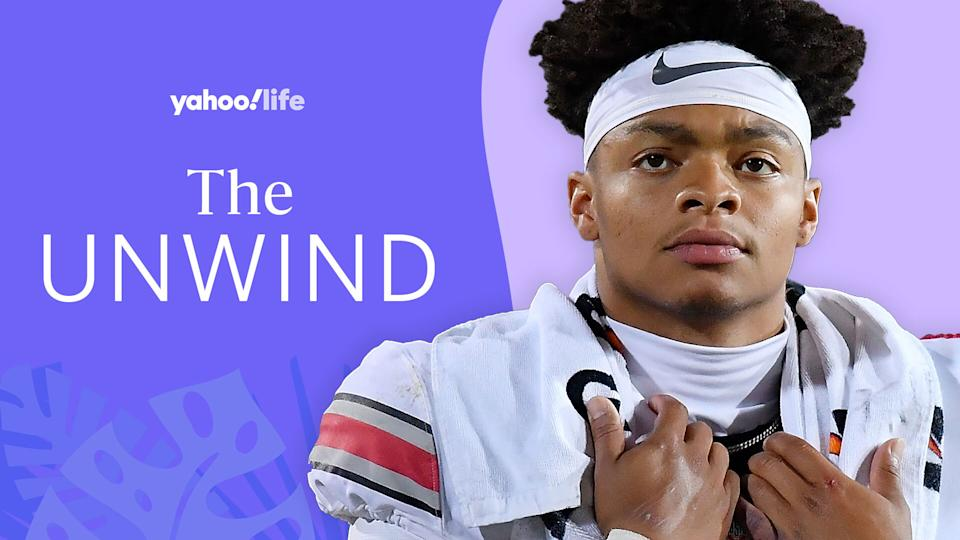Chicago Bears quarterback Justin Fields talks mental health, motivation and eating a plant-based diet. (Getty Images/designed by Quinn Lemmers)
