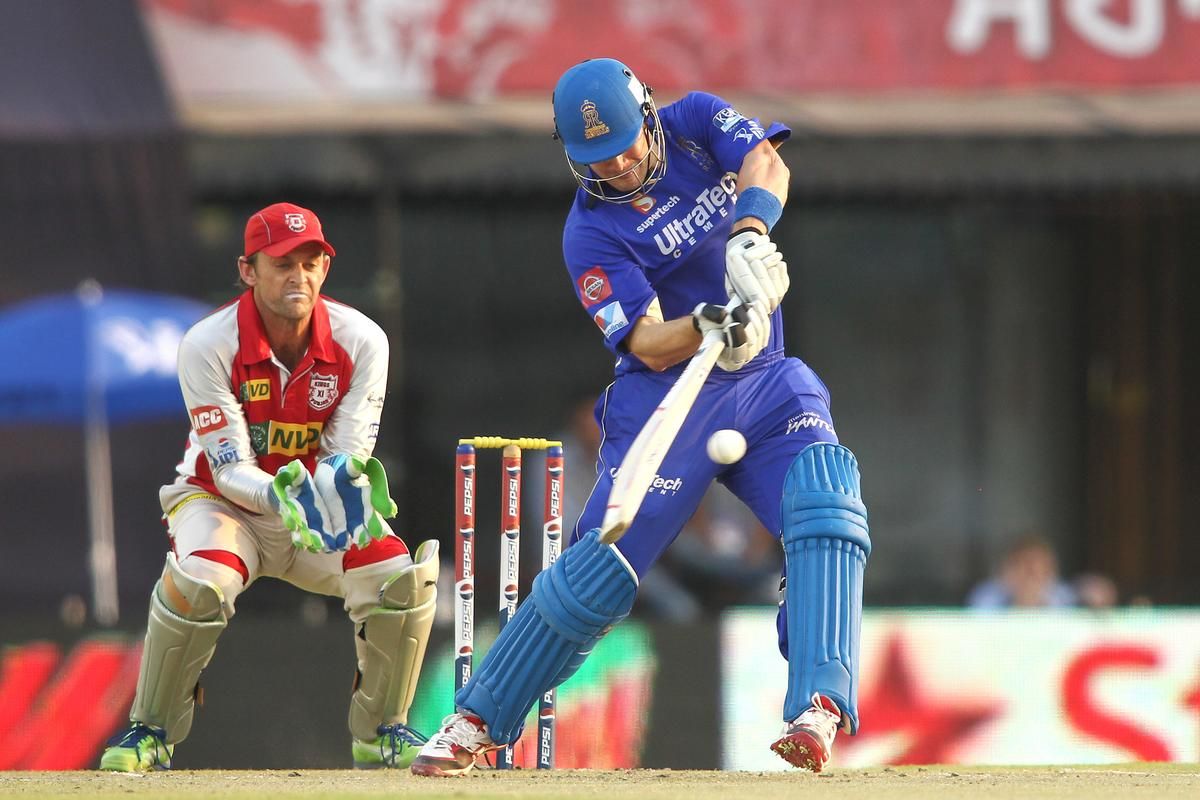 Shane Watson of Rajasthan Royals pulls a delivery through the leg side during match 55 of of the Pepsi Indian Premier League between The Kings XI Punjab and the Rajasthan Royals held at the PCA Stadium, Mohali, India on the 9th May 2013..Photo by Shaun Roy-IPL-SPORTZPICS  ..Use of this image is subject to the terms and conditions as outlined by the BCCI. These terms can be found by following this link:..https://ec.yimg.com/ec?url=http%3a%2f%2fwww.sportzpics.co.za%2fimage%2fI0000SoRagM2cIEc&t=1506275405&sig=UwN6UmvjotFqDt4UKPVYEg--~D