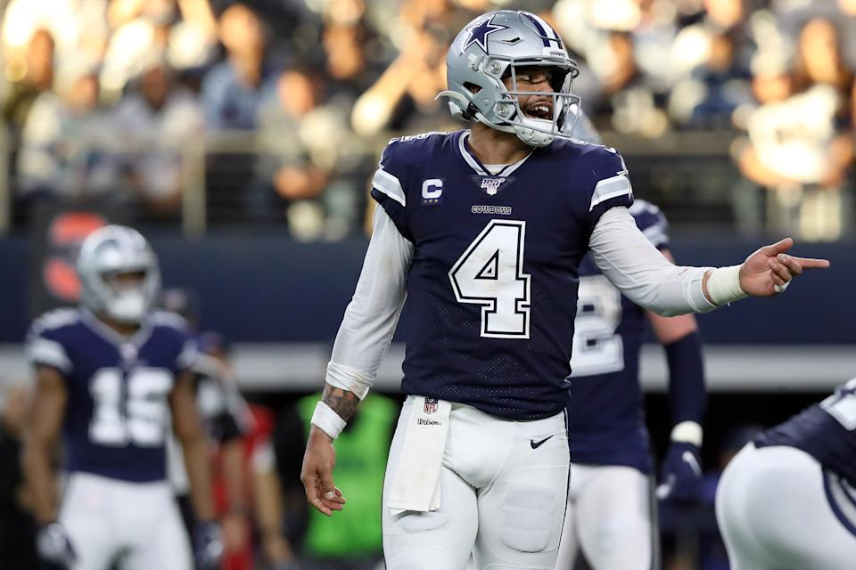 ARLINGTON, TEXAS - DECEMBER 15: Dak Prescott #4 of the Dallas Cowboys reacts against the Los Angeles Rams in the first half at AT&T Stadium on December 15, 2019 in Arlington, Texas. (Photo by Tom Pennington/Getty Images)