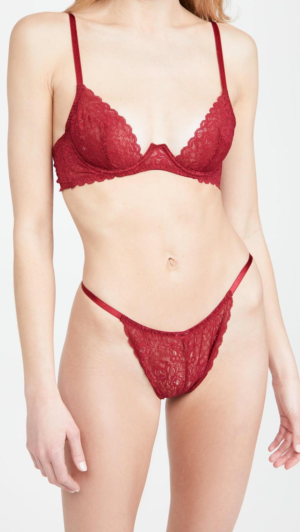 <p>This <span>Coco de Mer Marilyn Brazilian Knicker</span> ($40) and <span>Plunge Bra</span> ($65) is the perfect Valentine's Day set.</p>