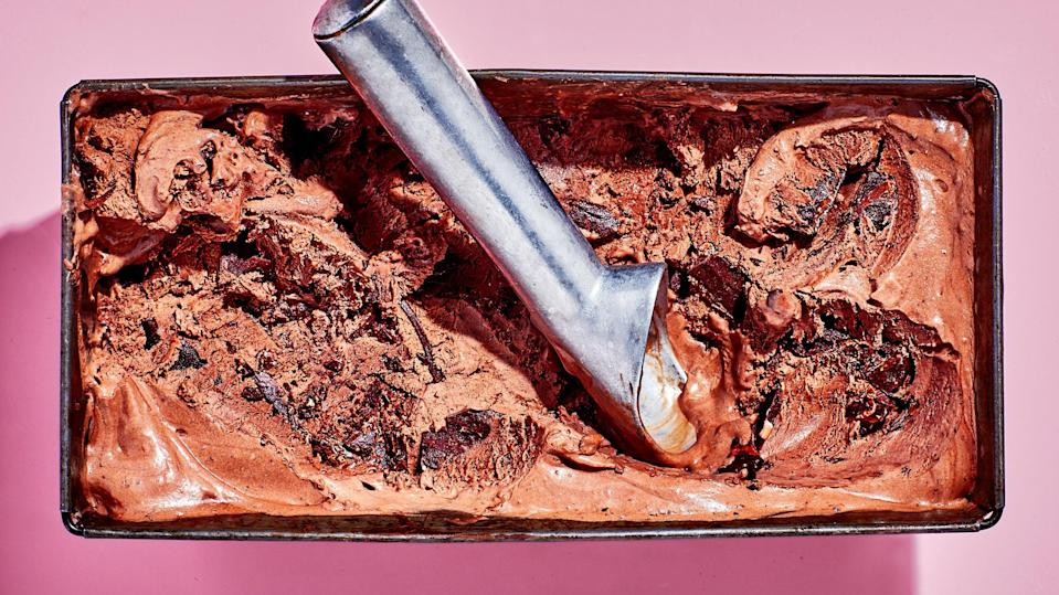 """This take on mint chip opts for fresh mint instead of extract, which can verge on toothpaste-y; fresh mint is subtler. No one would be mad if you skipped the streaks of chocolate and folded in crushed-up Thin Mints or chopped Andes Mints instead... <a href=""""https://www.bonappetit.com/recipe/fresh-mint-and-chocolate-ice-cream?mbid=synd_yahoo_rss"""" rel=""""nofollow noopener"""" target=""""_blank"""" data-ylk=""""slk:See recipe."""" class=""""link rapid-noclick-resp"""">See recipe.</a>"""