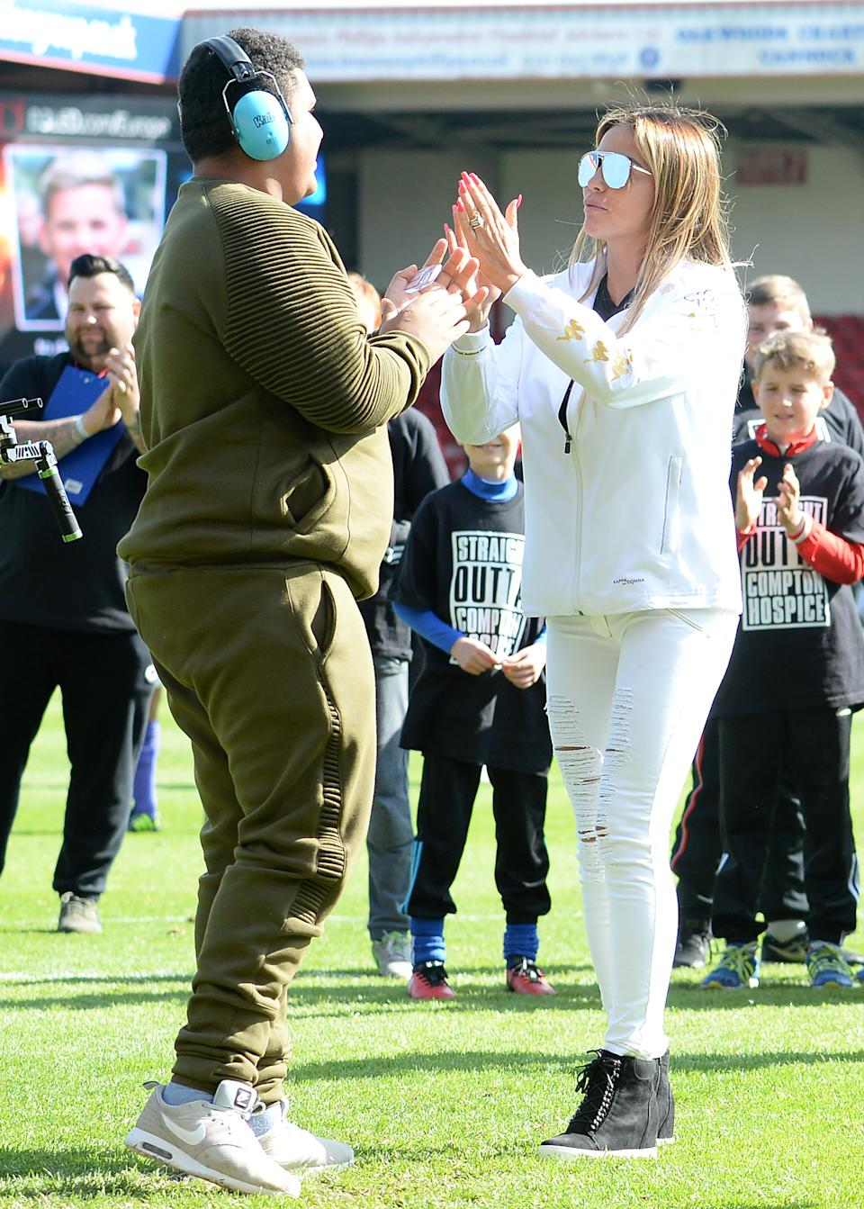 Katie Price and Son, Harvey attend Sellebrity Soccer Match in aid of Smile For Joel and Compton Hospice at Banks' Stadium on May 13, 2017 in Walsall, England.  (Photo by Eamonn M. McCormack/Getty Images)