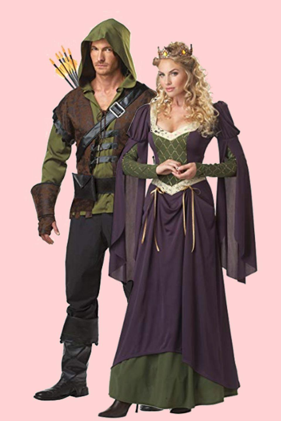 """<p>This famous pair is immediately recognizable while trick-or-treating, especially if Robin Hood carries around a toy bow and arrow.</p><p><a class=""""link rapid-noclick-resp"""" href=""""https://www.amazon.com/California-Costumes-Robin-Adult-Costume/dp/B004UUJMKU/?tag=syn-yahoo-20&ascsubtag=%5Bartid%7C10055.g.2625%5Bsrc%7Cyahoo-us"""" rel=""""nofollow noopener"""" target=""""_blank"""" data-ylk=""""slk:SHOP ROBIN HOOD COSTUME"""">SHOP ROBIN HOOD COSTUME</a></p><p> <a class=""""link rapid-noclick-resp"""" href=""""https://www.amazon.com/California-Costumes-Womens-Waiting-Purple/dp/B0091K98QW?th=1&psc=1&tag=syn-yahoo-20&ascsubtag=%5Bartid%7C10055.g.2625%5Bsrc%7Cyahoo-us"""" rel=""""nofollow noopener"""" target=""""_blank"""" data-ylk=""""slk:SHOP MAID MARIAN COSTUME"""">SHOP MAID MARIAN COSTUME</a> </p>"""