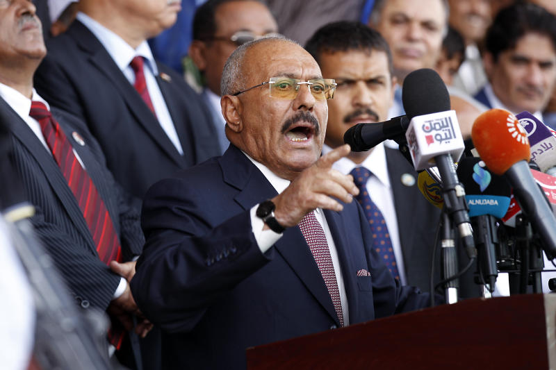 Ali Abdullah Saleh addresses supporters at a rally in August. (MOHAMMED HUWAIS via Getty Images)