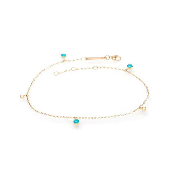"<p>Zoë Chicco turquoise-and-diamond anklet, $475, <a href=""https://zoechicco.com/collections/anklets/products/14k-turquoise-and-diamond-ankle-bracelet"" rel=""nofollow noopener"" target=""_blank"" data-ylk=""slk:zoechicco.com"" class=""link rapid-noclick-resp"">zoechicco.com </a> </p>"
