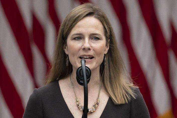 Judge Amy Coney Barrett speaks Saturday after President Trump announced her as his nominee to the Supreme Court.