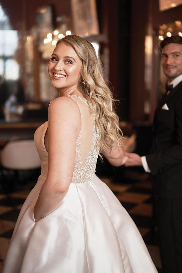 <p>A closer look at the back jewel details of the bridal dress. (Photo: courtesy of Justin Alexander) </p>